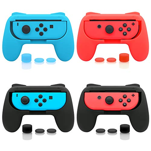 FASTSNAIL 4 Pack Grips Kit Compatible with Nintendo Switch Joy-Con, Wear-Resistant Grip Controller Compatible with Joy-con with 12 Thumb Grip (Black Blue and Red)