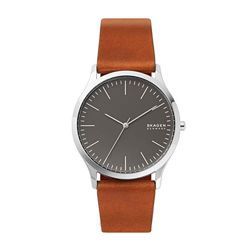 Skagen Men's Jorn Quartz Analog Stainless Steel and Leather Watch, Color: Metallic (Model: SKW6552)