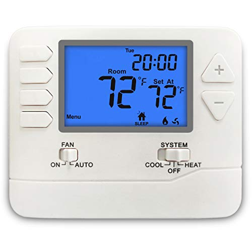 ELECTECK Digital 5-1-1 Day Programmable Thermostat with Large LCD Display, Compatible with Multi-Stage Electrical and Gas Systems, Up to 2 Heat/2 Cool, White