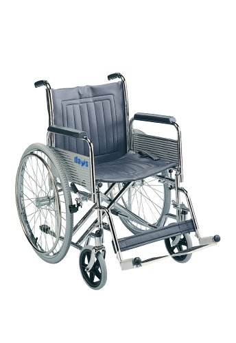 Days Heavy Duty Self-Propelled Wheelchair, 51cm (20'), Folding Back, Detachable Swing Away Footrests & Armrests, Folds for Transport, Easy for Caregiver to Push, (Eligible for VAT relief in the UK)