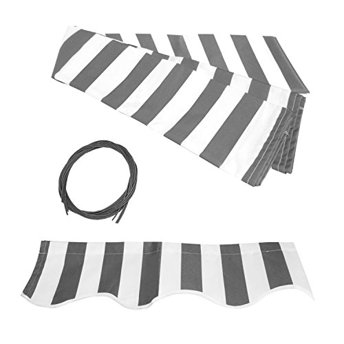 ALEKO FAB16X10GREYWHT Retractable Awning Fabric Replacement 16 x 10 Feet Gray and White Striped