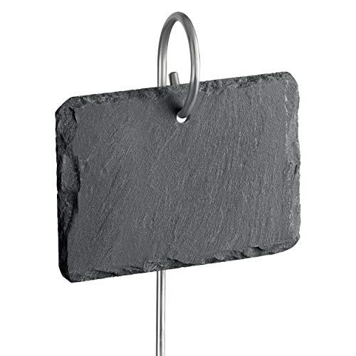 GardenMate® 10er Set Schilder aus Schiefer mit Metallstab 55cm - Stil naturell