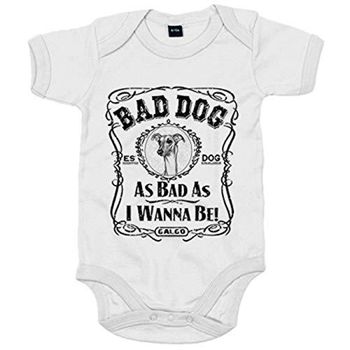 Body bebé frase perro mascota raza Galgo Bad dog as bad as I wanna be - Blanco, Talla única 12 meses