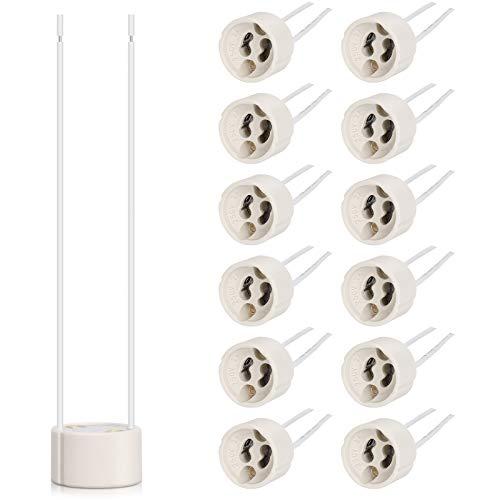 DiCUNO GU10 Support de lampe à douille 0.75mm² Connecteur à ampoule de fil de silicium 15cm Base de lampe pour LED et halogène, 250V, Max 300W (12p)