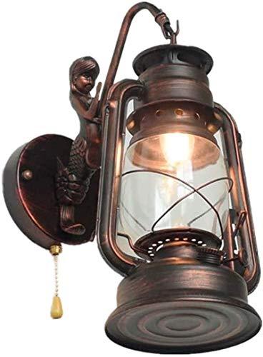 lámpara de pared Industrial Kerosene Linterna Luces de pared con interruptor de pull E27 Lámpara de pared retro Edison Casa de campo Vintage Antigua Muro Socna nostálgica Decoración de interior para s
