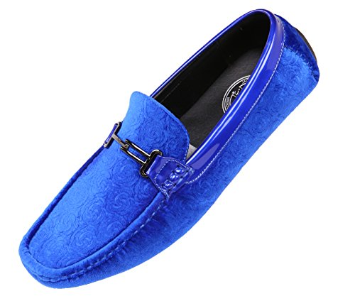 Amali The Original Mens Embossed Velvet and Patent Driving Moccasin Loafer Shoe: Style Roberto Royal Blue