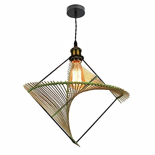 N\C Lámpara de araña de bambú Tejida a Mano, Luces de suspensión Colgantes de Forma Irregular Creativa, lámpara de Techo Interior Ajustable E27, cafetería, Restaurante, Hotel, lámpara Colgante