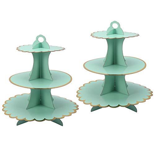 tiopeia 2 Stück Cupcake Ständer, 3 Etagen Cupcake Ständer, Dessert Torten Etagere, Muffin Ständer aus Karton, Party Zubehör für Geburtstag Baby Duschen(Grün)