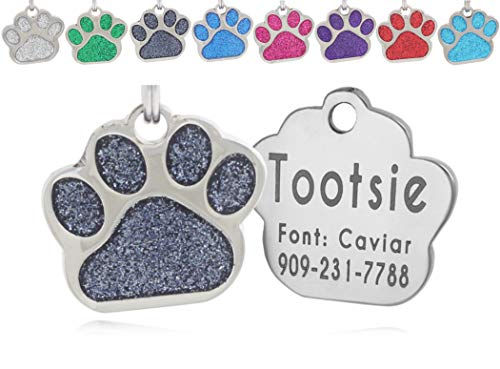 io tags Pet ID Tags, Personalized Dog Tags and Cat Tags, Custom Engraved, Easy to Read, Cute Glitter Paw Pet Tag (Black)…