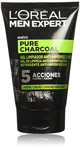 L'ORÉAL Paris Men Expert Gel Detergente Viso Detox Pure Charcoal, Formula Arricchita con Carbone Vegetale, 100 ml, Confezione da 2