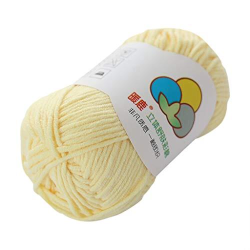 Janly Clearance Sale Lana tejida a mano, 5 hilos de algodón con leche, cálido y suave, tejido a mano, tejido de poliéster, textiles de ganchillo para matar tiempo y pasatiempos (beige)