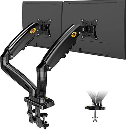 """NB North Bayou Monitor Halterung Tischhalterung Gasdruckfeder Arm höhenverstellbar Bildschirmhalterung für 2 Monitore 17\""""-27\"""" Zoll LED LCD Bildschirm Wiegt 2-9kg VESA 75x75 und 100x100mm"""