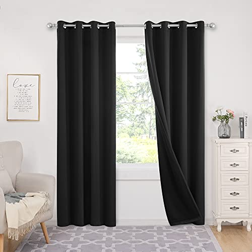 Deconovo Grommets Blackout Curtains 84 inches Long Thermal Insulated Window Drapes 100% Light Blocking Curtains for Bedroom Living Room Nursery, 2 Panels, Each 52x84 in, Black