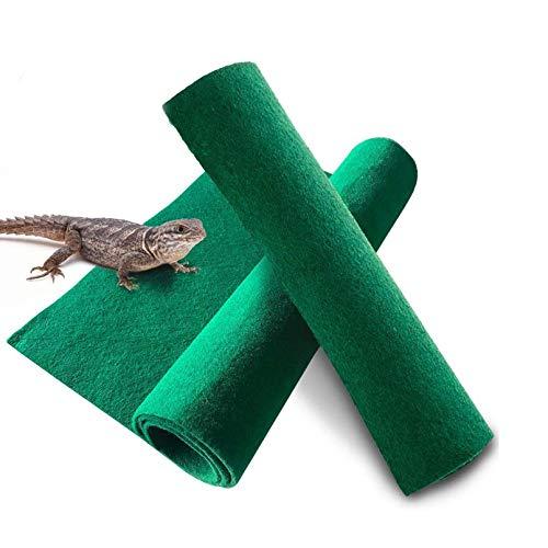 "Reptile Carpet 39.4"" x 19.7-2pcs Terrarium Substrate Liner Pet Habitat Bedding Soft Green Mat for Bearded Dragon Lizards Gecko Chamelon Iguana Turtles Snakes"