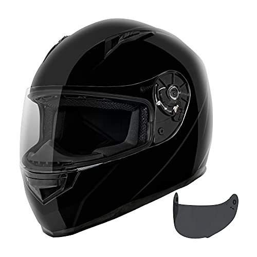VCAN VX Lightweight Full Face Motorcycle Street Bike Helmet with Extra Tinted Visor DOT & ECE 22.05 Approved (Gloss Black, X-Large)