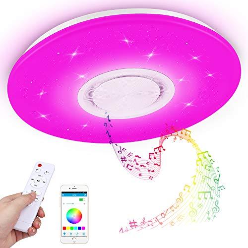 Led Deckenleuchte mit Bluetooth Lautsprecher und Fernbedienung,RGB Musik Deckenlampe Farbwechsel mit APP-Steuerung,3000-6500K für Küche Kinderzimmer Wohnzimmer, Rund 40cm (Sternenklarer Himmel-24w)