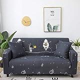 BSZHCT Elastischer Sofabezug Astronaut Bedruckte Pattern Sofabezüge Grau 1 Sitzer Antirutsch Stretchhusse Sofahusse Couchhusse mit 2Kissenbezug,für L Form Sofa Couch Sessel (90-140cm)