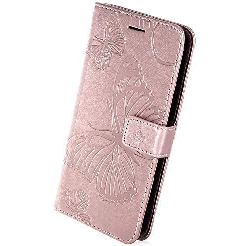 Herbests Kompatibel mit Leder Handy Schutzhülle Motorola Moto G2 Lederhülle Schmetterling Muster Leder Handyhülle Handytasche Brieftasche Ledertasche Bookstyle Flip Case Cover Klapphülle,Rose Gold