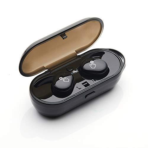 UMCCC Auriculares Bluetooth V4.0 Auriculares inalámbricos Verdaderos Auriculares intrauditivos Mini Gemelos Auriculares con Carga de micrófono Estuche para Apple iPhone 7 / X / 8 Plus (Negro)