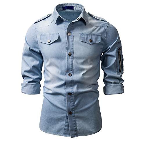 SALEBLOUSE Mens Cowboy Shirts Long Sleeve Casual Denim Shirt Vintage Button Down Western Shirt Men's Business Regular Fit Lapel PU PVC Leather T-Shirt Blouse Top Cardigan Workwear Pullover with Pocket
