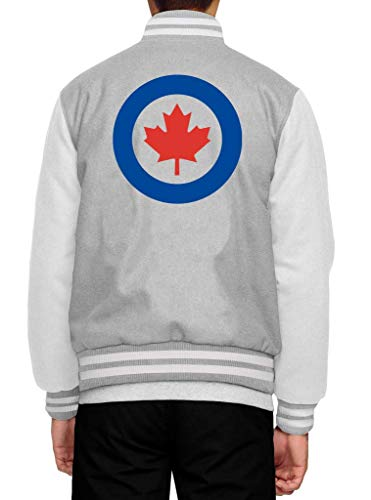 Shirt Happenz Kanada Royal Canadian Air Force Ahornblatt Canada CAN Maple Leaf Premium Collegejacke Herren Jacke Baseballjacke, Größe:XXL, Farbe:Graumeliert Weiß JH043