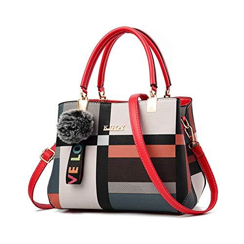 UNILIFE Top Handle Bag for Women Color Check Shoulder Bag Elegant Tote Bag Handle Satchel PU Leather Crossbody Bag