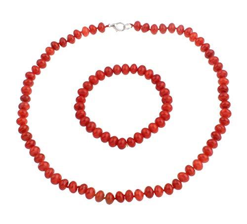 TreasureBay - Juego de collar, pulsera y pendientes de 8 mm (cuentas naturales de coral rojo, incluye caja para joyas)