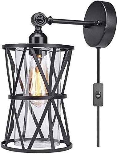 Lámparas de pared industriales, Vintage Industrial Wall Ltigh Plug en el dormitorio de la lámpara de noche con interruptor, ajustable de metal Negro lámpara de pared de la jaula, 1,8 m de cable, panta