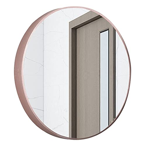 MU Espejo de Pared de Baño, Espejo de Mde Metal Redondo, Espejo de Tocador Espejo de Maquillaje para Dormitorio, Baño, Sala de Estar, Entrada, Tipo de Pasta Negra,Oro Rosa,40 cm