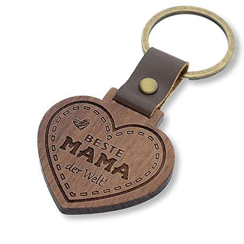 FORYOU24 Schlüsselanhänger mit Gravur aus Holz Herz - Geschenk für Mama