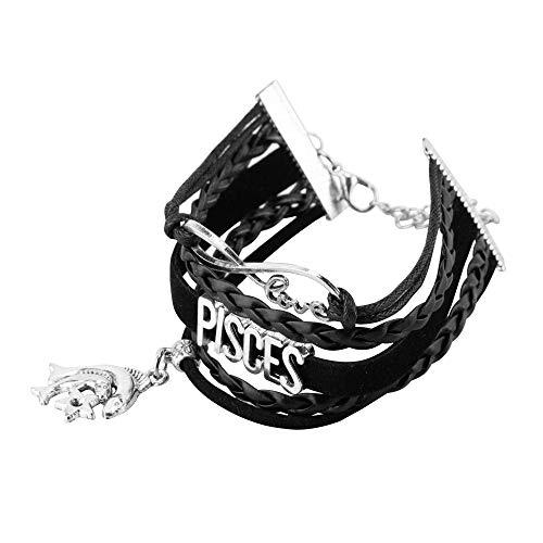 NovaLuna – Sternzeichen Armband aus Schwarzem Kunstleder in Wickeloptik 'Infinity Zodiac' mit Karabiner-Verschluss – Infinity Anhänger - Herren Damen Unisex Tierkreis Accessoire Schmuck Fische
