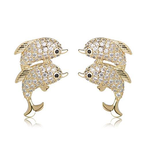 Pendientes de delfines dobles de moda Diamantes de imitación completos Pequeños pendientes de animales Stud Oro Color Cobre Joyas Orejas Accesorios