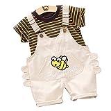 heavKin-Clothes 6 Months - 4 Years Toddler Kids Baby Boy Girl Stripe Printed Short Sleeve T-Shirt Tops Shirt + Strap Shorts Fashion Suit (Beige, 3-4 Years)