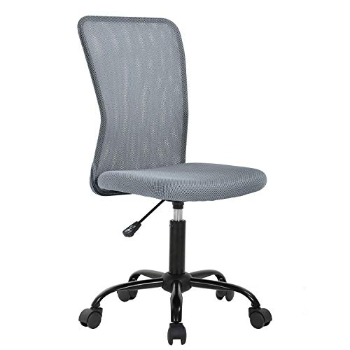 Office Chair, Meet Perfect Mid Back Armless Ergonomic Adjustable Rolling Swivel Back Support Executive Desk Chair, Computer Mesh Chair Modern Task Chair with Wheels for Home and Office-Grey