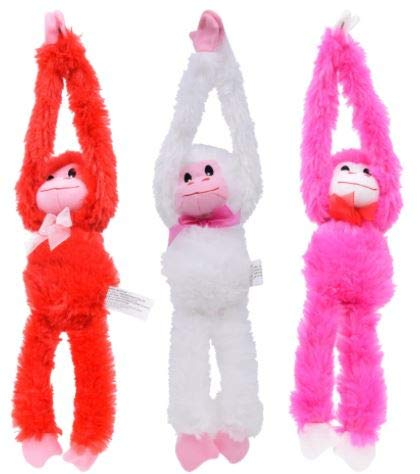 Crush Valentine's Plush Adorable Hanging Monkeys Total of 3 Pink, White, Red