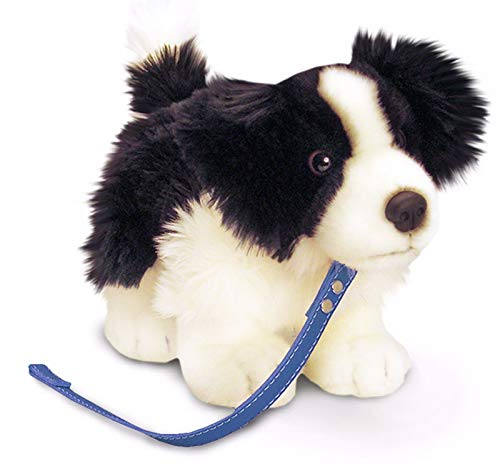 Keel Toys Standing Border Collie Puppy on Lead Soft Plush Dog