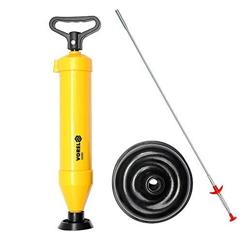 desatascar tuberías VOREL, Bomba de aire diámetros: 65 mm y 155 mm + Herramienta de Recogida Flexible- Agarre de Garra de Resorte para desbloquear el fregadero