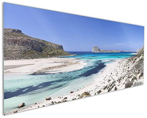 Wallario Küchenrückwand aus Glas, in Premium Qualität, Motiv: Einsame Bucht mit weißem Sand und klarem Wasser | Spritzschutz | abwischbar | pflegeleicht