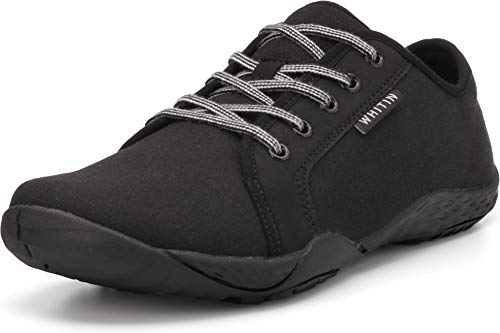 WHITIN Men's Canvas Barefoot Sneakers | Wide fit | Arch Support | Zero Drop Sole Minimus Casual Size 10 Minimalist Tennis Shoe Fashion Walking Flat Lightweight Comfortable Driving Male All Black 44