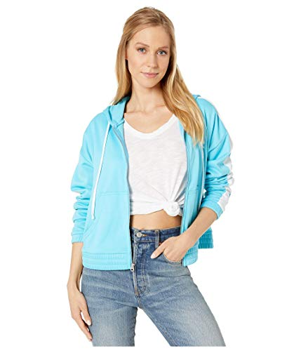 Juicy Couture Solid Tricot Track Hoodie Jacket Jammer Blue LG (US 10-12)