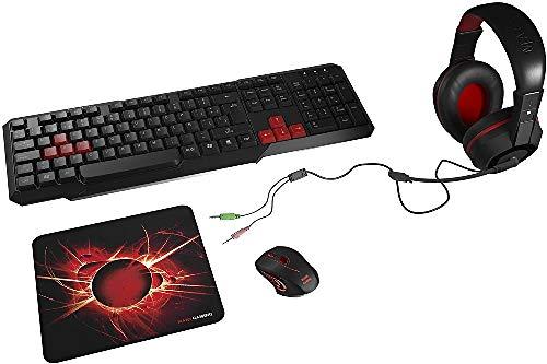 Mars Gaming MACP1, Pack de Teclado, Ratón, Auriculares y Alfombrilla Gaming, USB Alámbrico, Negro