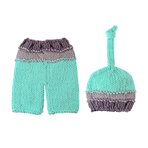 YEAHIBABY NUOLUX Bébé Infant Nouveau-Né À La Main Crochet Bonnet Chapeau Chapeau Bébé Props De Photographie (Bleu Ciel)