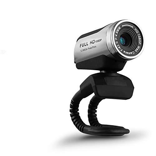 Webcams Telefonía VoIP Cámara Web HD con micrófono USB 2.0 1080P Webcam PC para computadora portátil Live Broadcast Work Conference Work Computer (Color : Silver)