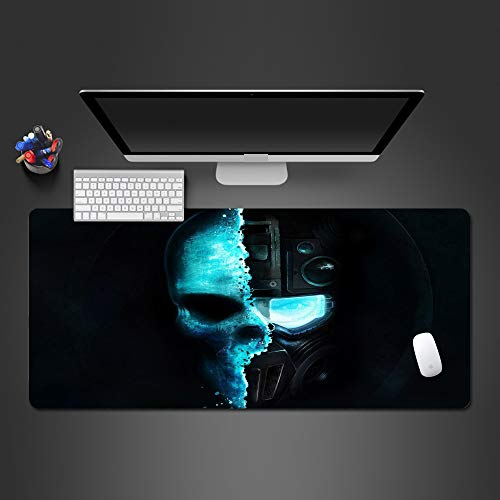 HonGHUAHUI Koude dubbele blauwe schedel- muisonderlegger oudere spel-computer-toetsenbord muizenmat persoonlijkheid gamermat voor muizenkerstcadeau, 600 x 300 x 2 mm.
