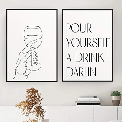 Impresión en Lienzo HD Mural Art Poster Cocina Arte Impresión Línea Abstracta Imagen Dibujo Arte de la Pared Pintura Mano sosteniendo Copa de Vino Póster Bar Imágenes Decoración del hogar