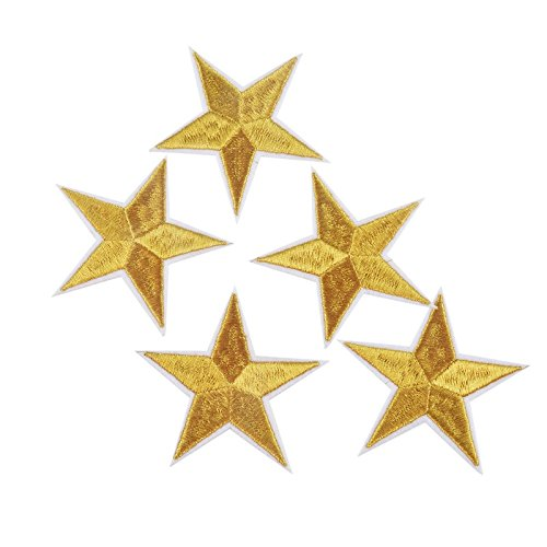 10 parches termoadhesivos estrella dorada bordada para ropa, scrapbooking, costura..