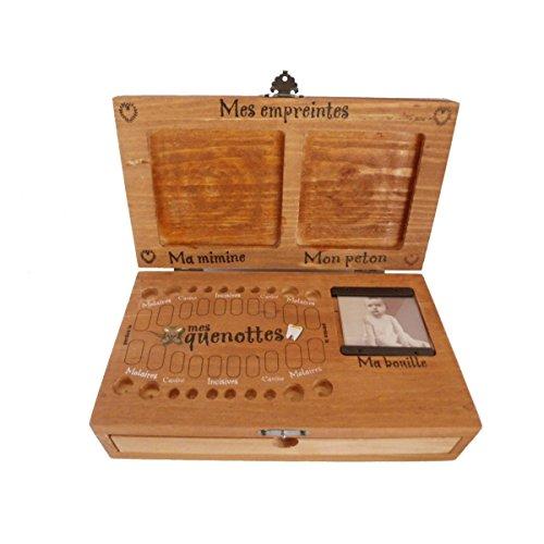 Baby-Erinnerungskiste Milchzahnbox Fingerabdrücke Geburtsarmband [mit Beschriftungen in französischer Sprache]