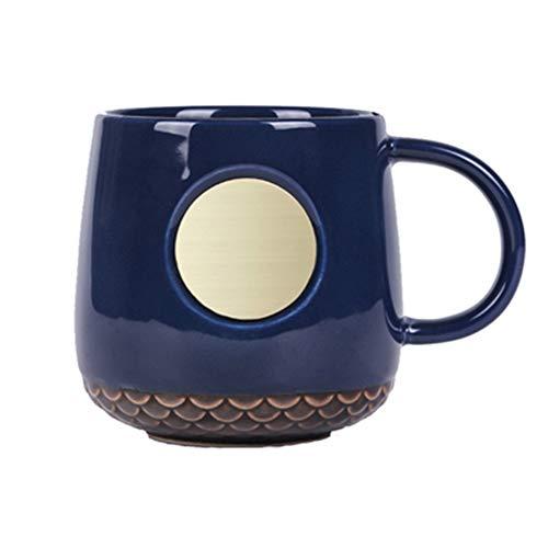 donfhfey827 Einfache Kaffeetasse im nordischen Stil Keramik Kaffeetasse Kupfer Kapitel Becher Keramik Tasse Starbucks Bronze Tasse