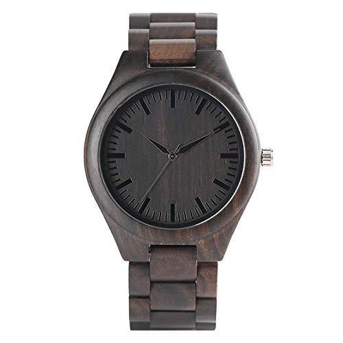 Cuero Madera Relojes De Cuarzo Reloj De Los Hombres De Bambú Moderno Reloj Análogo Madera De La Naturaleza Suave De La Manera Creativa Regalos De Cumpleaños Hyococ (Color : Red)