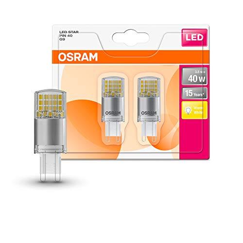 Osram LEDspin40 Cl 3,8W/827 230V G9 Bli2 Lampada 3.8 W, Bianco, 2 Lamp, 2 unità, G9